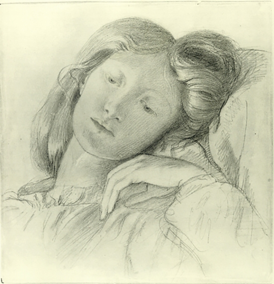 Pencil drawing of Lizzie by Rossetti.