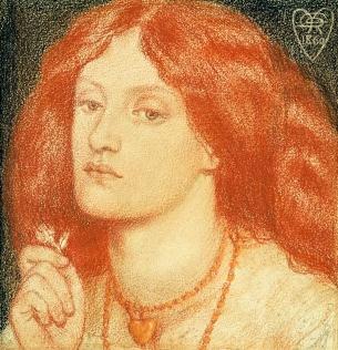 Portrait of Lizzie Siddal, by Rossetti, 1860.