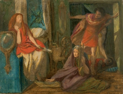 The Return of Tibullus to Delia by Rossetti, 1853, his first painting including Lizzie.