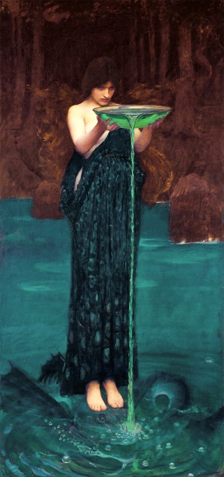 """""""Circe Invidiosa"""", by John William Waterhouse, 1892. One of several femmes Fatales characters proposing menace and harm to an unsuspecting victim."""