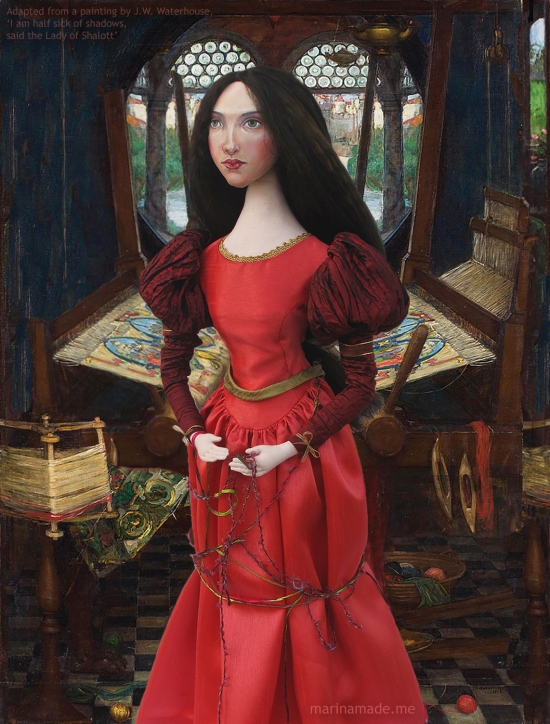 """J.W.Waterhouse muse as Lady of Shalott, """"I am half sick of Shadows"""", created by Marina Elphick for Marina's Muses. Art muses. Based on model Beatrice Flaxman, Waterhouse muse and model."""