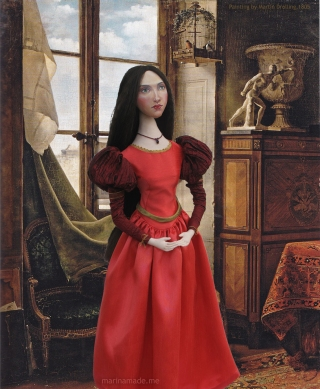 J.W. Waterhouse model Beatrice Flaxman inspired this muse, she is set in the artist's studio. Muse created by Marina Elphick.