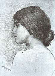 Charcoal drawing of a girl, by J.W.Waterhouse.