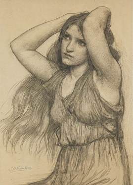 "Charcoal Study For ""Flora"" 1897, by J.W. Waterhouse."