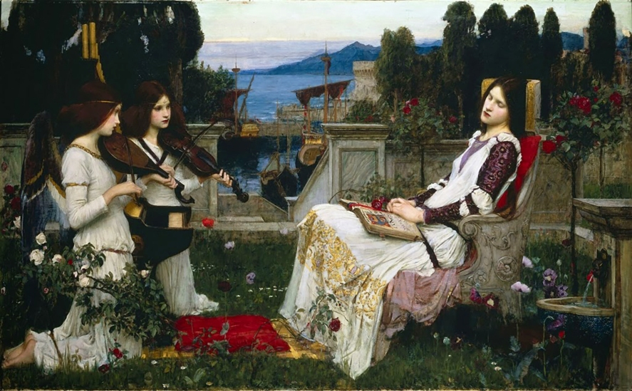 "J.W. Waterhouse ""Saint Cécila"" 1895. The two winged musicians are thought to be modelled by Muriel Foster."