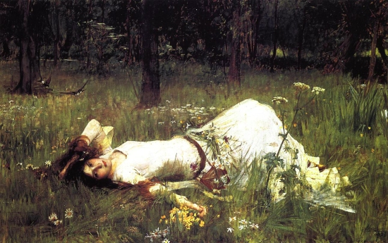 "J.W. Waterhouse, ""Ophelia"" 1889, the first of three versions."