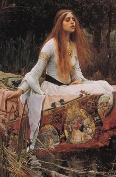 Lady of shalott 1888 by J.W. Waterhouse, detail.