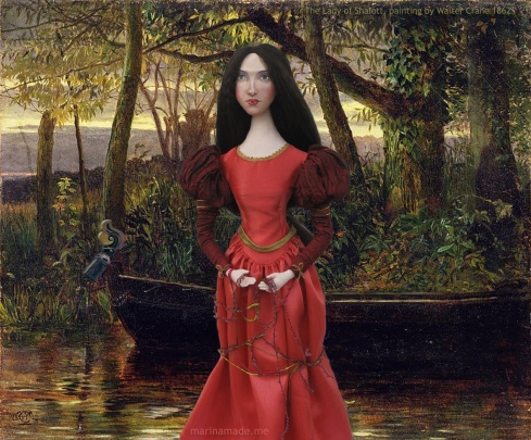 J.W.Waterhouse muse as Lady of Shalott, created by Marina Elphick for Marina's Muses. Pre-Raphaelite style.