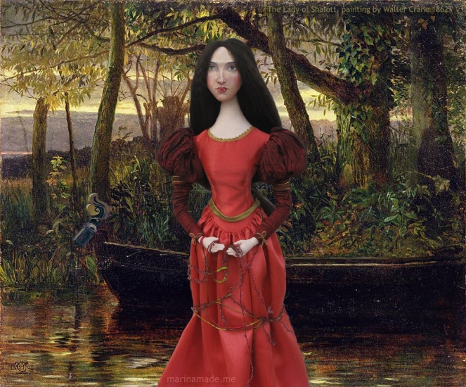 J.W.Waterhouse muse as Lady of Shalott, created by Marina Elphick for Marina's Muses. Pre-Raphaelite style muse based on J.W.Waterhouse model, Beatrice Flaxman.