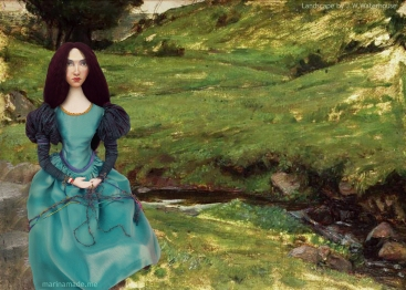Waterhouse muse in an uncompleted landscape by John William Waterhouse.