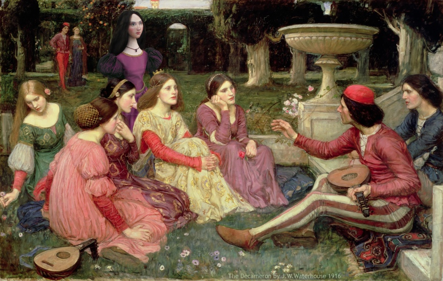Muse with The Decameron by JW Waterhouse. Muse created by Marina Elphick.