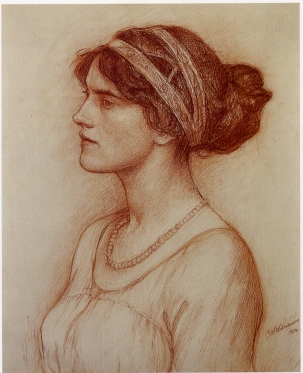Red chalk drawing, by J.W. Waterhouse.
