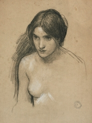 "Study for a nymph in ""Hylas and The Nymphs"" in chalk and charcoal, by J.W. Waterhouse."