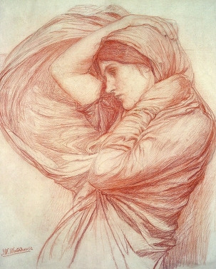 Study for 'Boreas' in red chalk by John William Waterhouse.