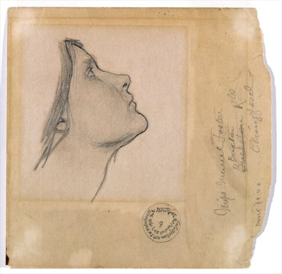 Study for 'Lamia', c.1904-05, pencil on paper by John William Waterhouse. Muriel Foster's name can be seen with her address in Chingford, Essex.