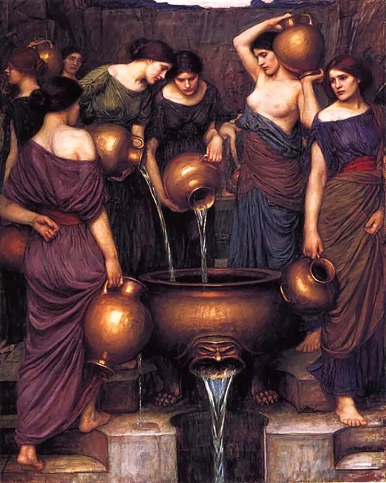 """The Danaides"", 1906 by John William Waterhouse. I can see the likeness of Beatrice Flaxman possibly in two of the faces."