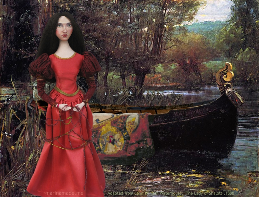 J.W.Waterhouse muse as Lady of Shalott, created by Marina Elphick for Marina's Muses. Pre-Raphaelite style muse based on Waterhouse model, Beatrice Flaxman.