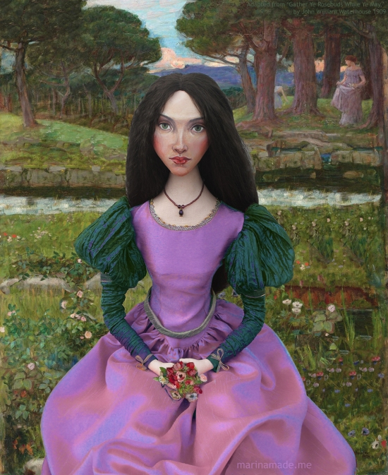 "J.W.Waterhouse muse in my adaption of ""Gather Ye Rosebuds While Ye May"",art muse created by Marina Elphick."