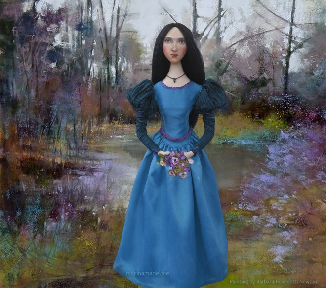 Waterhouse muse in wooded Landscape, a painting by Barbara Benedetti Newton. Muse created by Marina Elphick for Marina's muses, inspired by the paintings of J.W.Waterhouse.