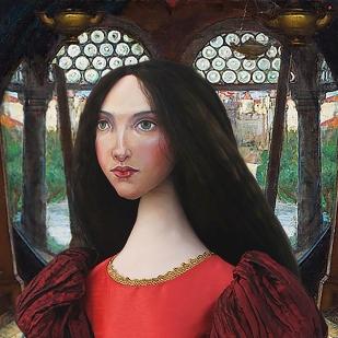"J.W.Waterhouse muse, Beatrice Flaxman as Lady of Shalott, ""I am half sick of Shadows"". Made by Marina Elphick for Marina's Muses."