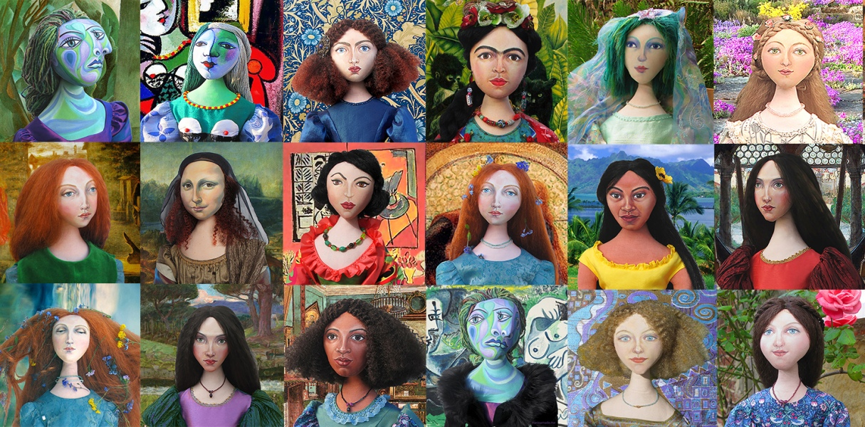Marina's muses, Dora Maar, Marie Therese Walter,Jane Morris, Frida Kahlo, Bella Chagall, Simonetta Vespucci, Lizzie Siddal, Mona Lisa, Lydia Delectorskaya, Teha'amana, Beatrice Flaxman, Fanny Eaton, Emilie Flöge and Effie Gray, with more on their way hand sculpted art muses unique and individual.