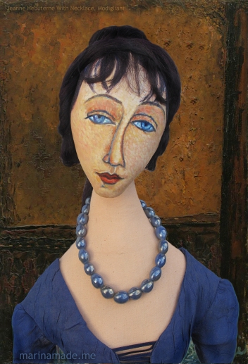"Muse as Modigliani's ""Jeanne Hébuterne with Necklace"". Modigliani's muse and lover, becoming his common law wife for a short 2 years, Jean had a tragic end. Muse made by Marina Elphick."