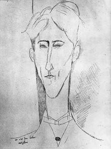 Amedeo Modigliani, pencil portrait of Jean Cocteau 1916.