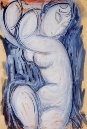 Caryatid, Gouache and ink on paper by Amedeo Modigliani 1914. Jeanne Hébuterne was Modigliani's tragic muse and lover.