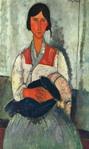 Gypsy Woman with a Baby, 1919 by Amedeo Modigliani.