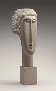 Head of a Woman, limestone sculpture by Amedeo Modigliani.