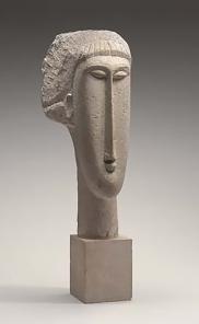 Head of a Woman, limestone sculpture by Amedeo Modigliani.