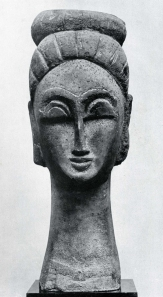 Head Sculpture, stone, by Modigliani 1911.