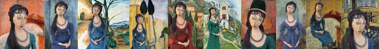 Jeanne Hébuterne muse set in painted scenes by Modigliani, Andre Derain, Chaim Soutine and Jeanne Hébuterne herself. Jeanne Muse created by Marina Elphick.