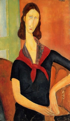Jeanne Hebuterne with Red Scarf, Amedeo Modigliani , 1919. Jeanne Hébuterne was Modigliani's muse and lover, dying tragically young at 21. Jeanne was a talented artist in her own right, yet her life was too short for her creativity to mature.