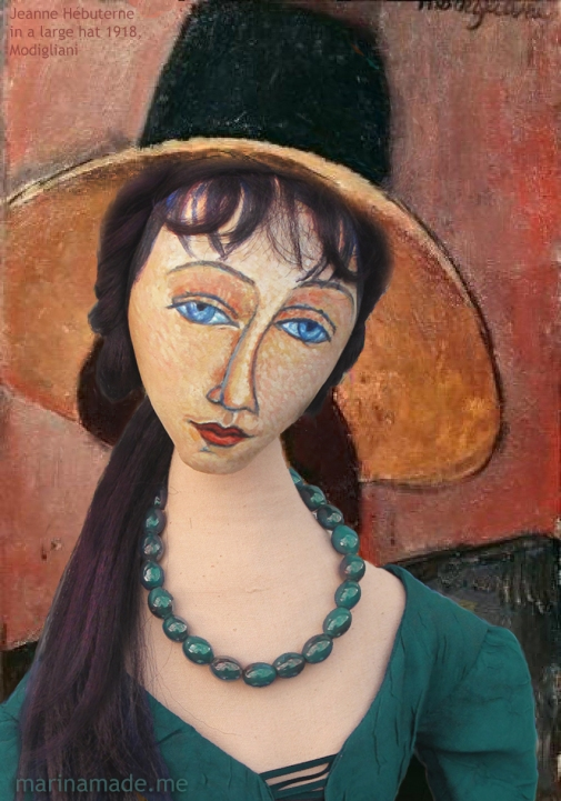 "Jeanne Hébuterne, Modigliani's muse within the painting of ""Portrait of a Woman with Hat"" by Amedeo Modigliani. Jeanne Hébuterne was Amedeo Modigliani's muse and lover, dying tragically young at 21. Jeanne Hébuterne was a talented artist in her own right, yet her life was too short for her creativity to mature. Muse made by Marina Elphick."