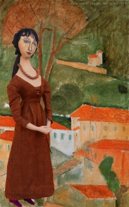 "Modigliani's muse Jeanne in ""Cagnes Landscape"", 1919 by Amedeo Modigliani. Jeanne Hébuterne was Modigliani's muse and lover, dying tragically young at 21. Jeanne was a talented artist in her own right, yet her life was too short for her creativity to mature. Muse made by Marina Elphick."