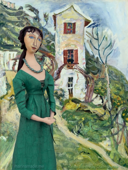 "Jeanne Muse in Chaim Soutine's painting, ""Maison Blanche"". Jeanne Hébuterne was Modigliani's muse and lover, dying tragically young at 21. Jeanne was a talented artist in her own right, yet her life was too short for her creativity to mature. Muse made by Marina Elphick."