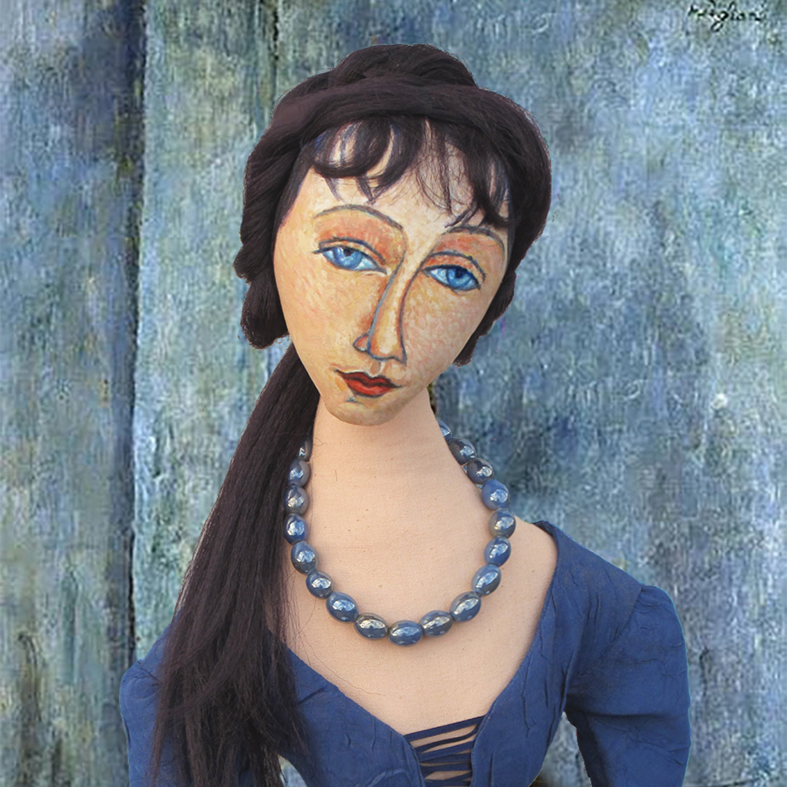 Jeanne muse as 'Woman with Blue Eyes' by Amedeo Modigliani. Muse made by Marina Elphick. Jeanne Hébuterne was Modigliani's muse and lover, dying tragically young at 21.