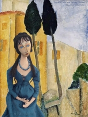 "Jeanne muse with ""Cypress Trees"" by Modigliani. Jeanne Hébuterne was Modigliani's muse and lover, dying tragically young at 21. Jeanne was a talented artist in her own right, yet her life was too short for her creativity to mature. Muse made by Marina Elphick."