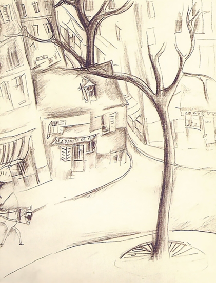 Street scene, drawing by Jeanne Hébuterne.