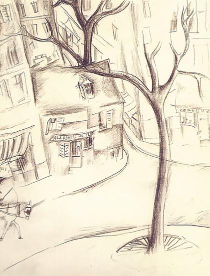 Street scene, drawing by Jeanne Hébuterne.