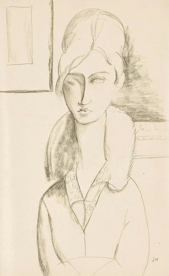 Self portrait, pencil drawing by Jeanne Hébuterne.