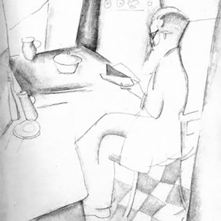 Man at a table, by Jeanne Hébuterne.