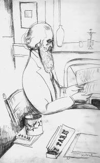 Man in cafe, drawing by Jeanne Hébuterne.