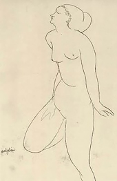 Life drawing, Modigliani. Jeanne Hébuterne was Modigliani's tragic muse and lover.