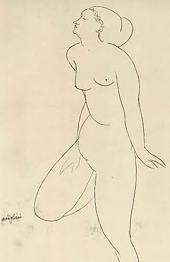 Life drawing, Modigliani. Jeanne Hébuterne was Modigliani's tragic muse and lover.