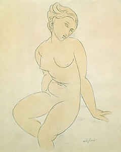 Life drawing sketch, Modigliani