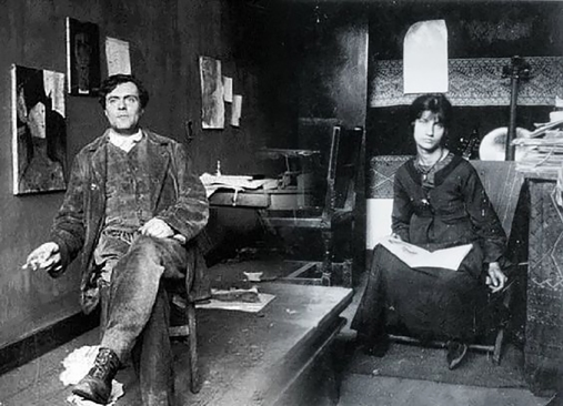 Modigliani and Jeanne Hebuterne in their studio/ home. photo taken 1917.Jeanne Hébuterne was Modigliani's muse and lover, dying tragically young at 21. Jeanne was a talented artist in her own right, yet her life was too short for her creativity to mature. Muse made by Marina Elphick.