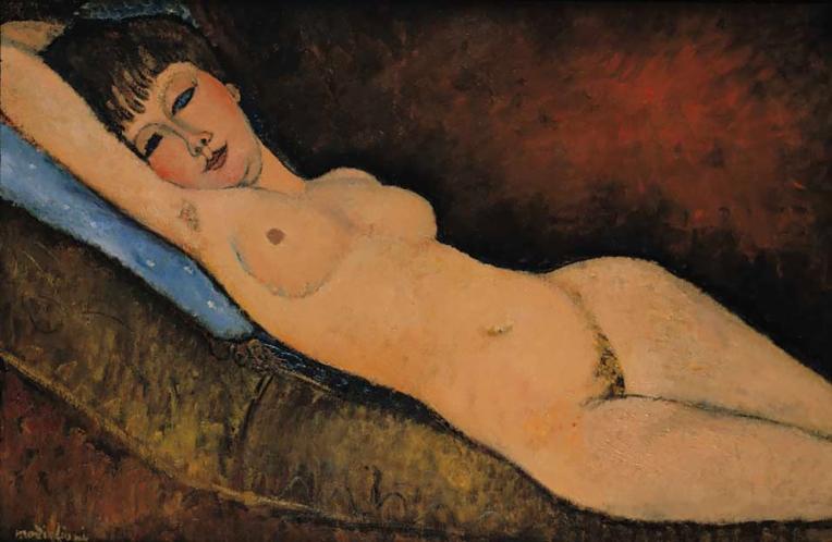 """Nu Couché au coussin Bleu"", Modigliani, 1916."
