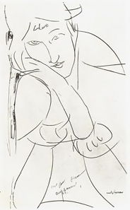 Sketch, Modigliani. Jeanne Hébuterne was Modigliani's tragic muse and lover.